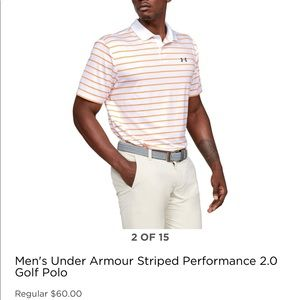 MENS UNDER ARMOUR STRIPED PERFORMANCE GOLF 🏌️POLO